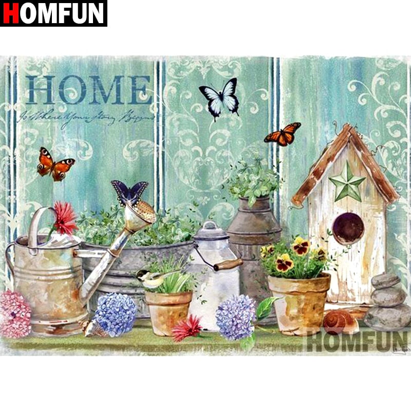 "DIY 5D Diamond Painting Full Square/Round ""Bird house flower""Diamond Embroidery Picture Of Rhinestone A12825"