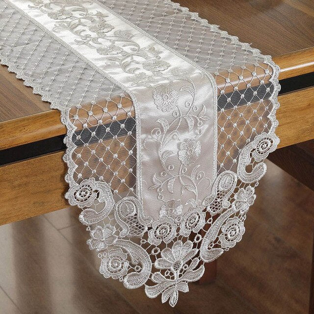 Floral Lace Table Runner Beige Champagne  Ark Cover Cloth Romantic Home Hotel