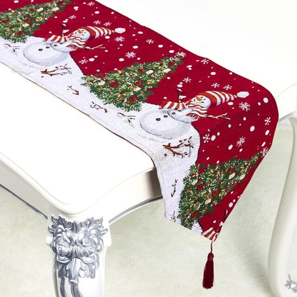 180X34CM Christmas Printing Table Runners Mat Dinning Table Decoration Napkin