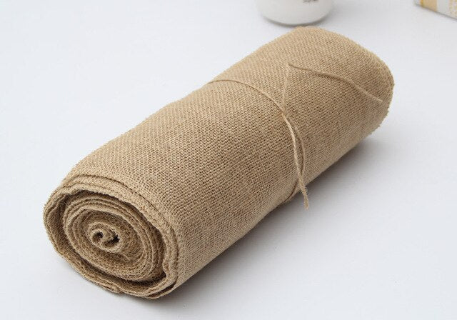 30CMx10M Burlap Wedding Table Runner Linen Table Flag Tablecloth Jute Table