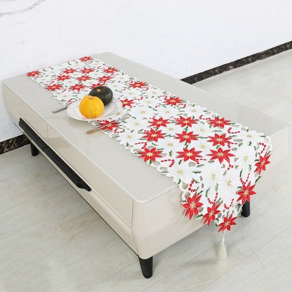 New Design Christmas Embroidery Cutwork Table Runner Xmas Flower Tablecloth
