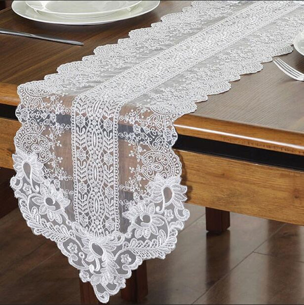 White Embroidery Table Runner Elegant Lace Tableware Dining Room Restaurant Cafe