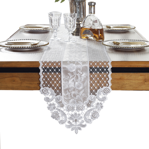 Lace  Korean Princess Table Flag European White Simple Tea Table Runner French lace