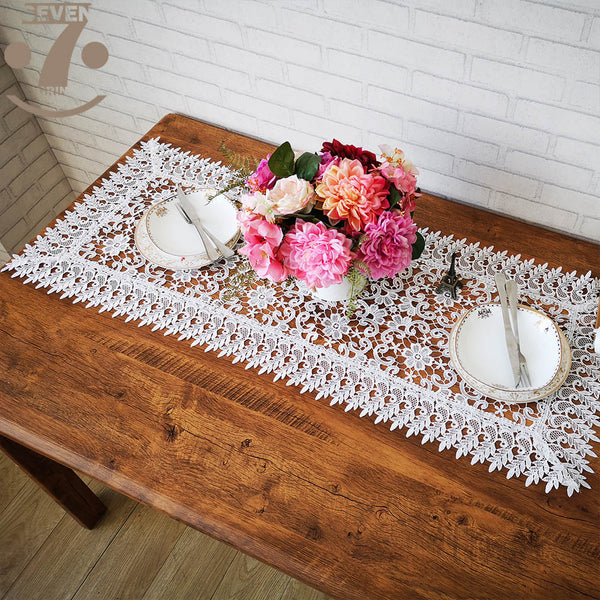 Free Shipping Home Decorative Dining Banquet Hollow Out Embroidered Table Runner Furniture Cover