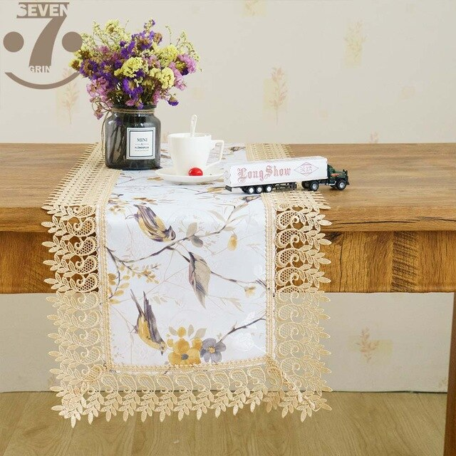 Free Shipping Dining Banquet Embroidered Border Decorative Birds Printed Jacquard