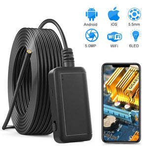 5.0MP Wireless Endoscope 2560*1920 Semi-Rigid Snake Inspection Camera with 1800 mAh Battery