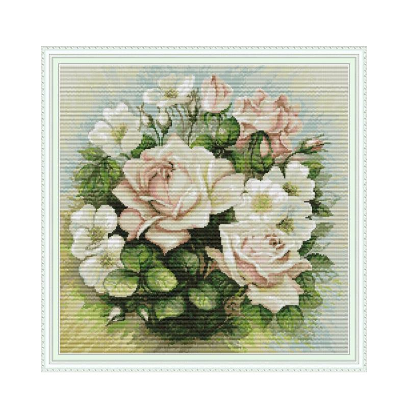Pink rose flower cross stitch kit aida 14ct 11ct count print canvas cross stitches   needlework embroidery DIY handmade