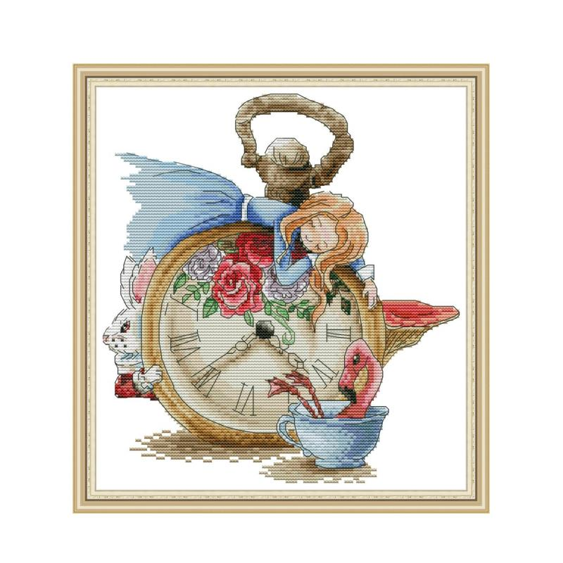 Sleeping Alice cross stitch kit aida 14ct 11ct count print canvas cross stitches   needlework embroidery DIY handmade