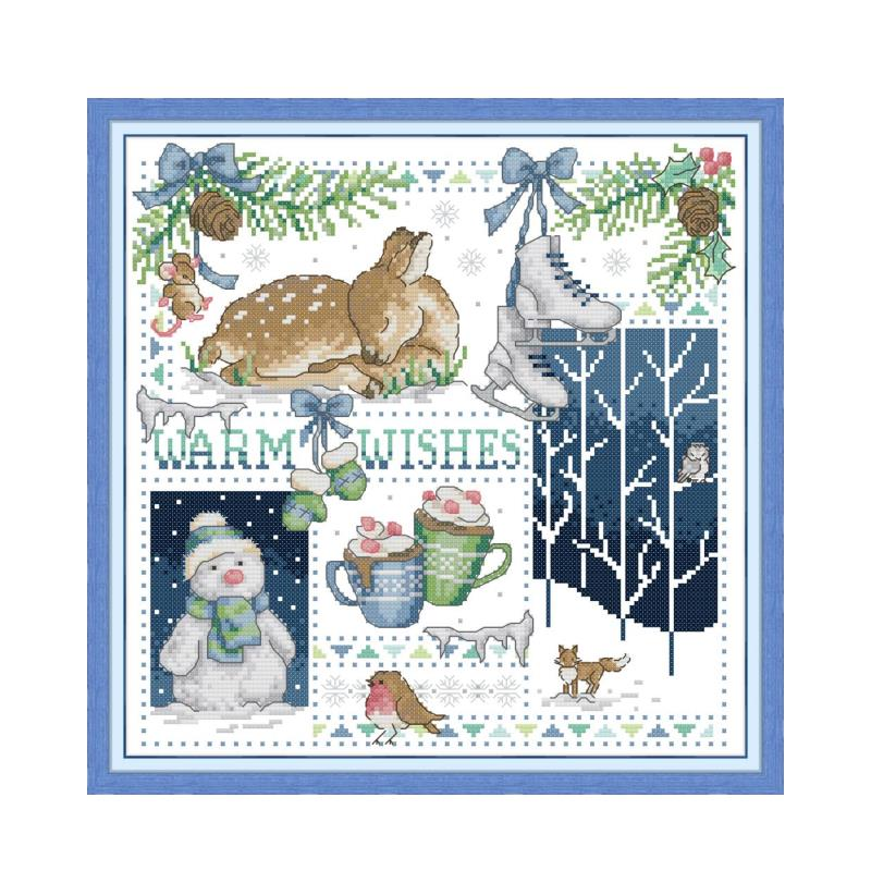 Christmas reindeer cross stitch kit aida 14ct 11ct count print canvas cross stitches   needlework embroidery DIY handmade