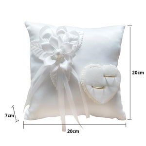 Wedding Ring Pillow Romantic Stylish White Square Flower Ring Camellia Heart Shaped Cushion