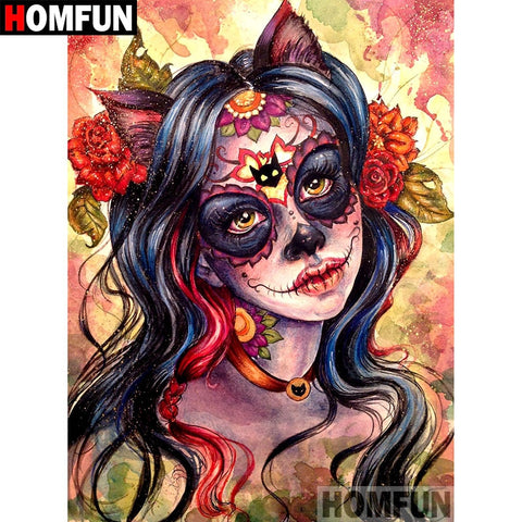 "5D DIY Diamond Embroidery Full Display ""Skull girl"" Diamond Painting Square/Round Rhinestones A07343"