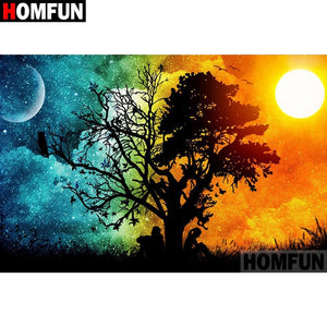 "Diamond Painting Cross Stitch ""Day night tree"" 5D DIY Diamond Embroidery Full Square/round Rhinestone Of Picture A07321"