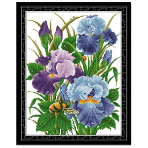 Iris 2 cross stitch kit aida 14ct 11ct count print canvas cross stitches   needlework embroidery DIY handmad