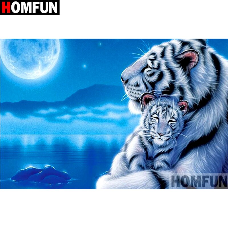 "Full Square/Round Drill 5D DIY Diamond Painting ""White tiger"" Embroidery Cross Stitch 5D Home Decor A01258"