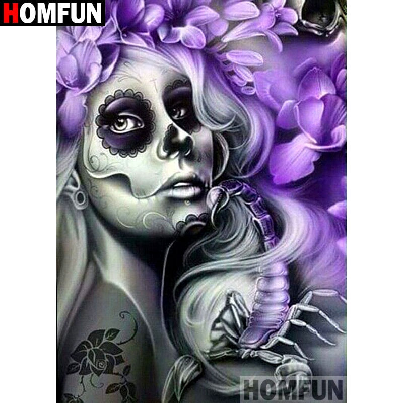 "Full Square/Round Drill 5D DIY Diamond Painting ""Skull woman"" Embroidery Cross Stitch 5D Home Decor A00992"