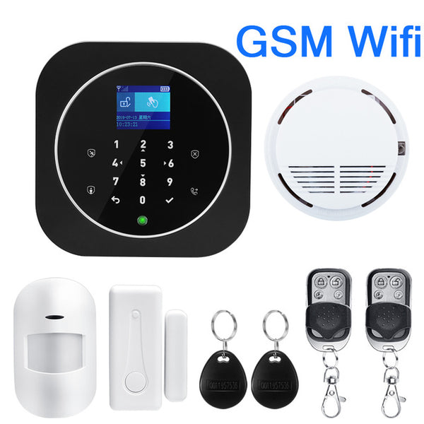 Switchable Wireless Home Security TUYA WIFI GSM GPRS Alarm system APP Remote Control RFID