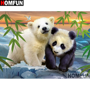 "Full Square/Round Drill 5D DIY Diamond Painting ""Animal bear panda"" Embroidery Cross Stitch A13375"