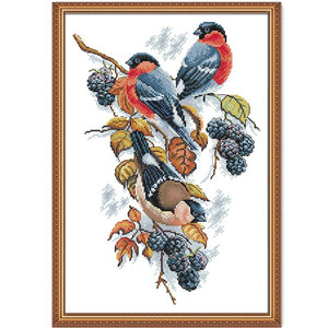 Red bellies Magpies and blackberries cross stitch kit aida 14ct 11ct count print canvas stitches embroidery handmade needlework