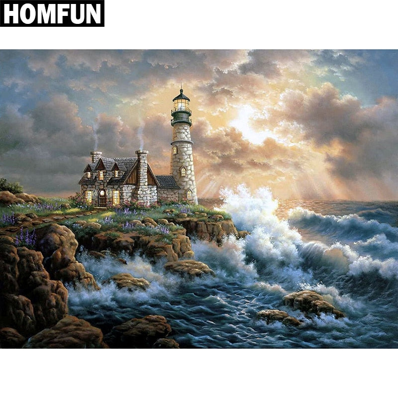 "Full Square/Round Drill 5D DIY Diamond Painting ""Ocean Lighthouse"" Embroidery Cross Stitch 5D Home Decor Gift A06073"