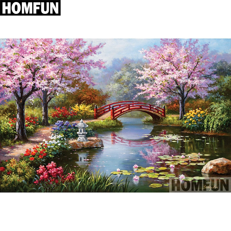 "Diamond Painting ""River Bridge"" DIY 5D Diamond Embroidery Sale Full Set Rhinestone Cross Stitch Home Decor A06392"