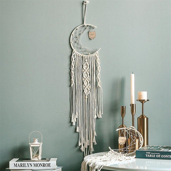 Moon Dreamcatcher Macrame Cotton Woven Bohemian Wall Hanging Tapestry Pendant for Girl Bedroom Living Room decoration