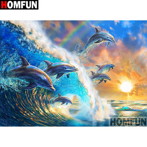 "Full Diamond Embroidery ""Dolphin scenery"" Diamond Painting Patterns Rhinestone Unfinished Home Decor A07037"