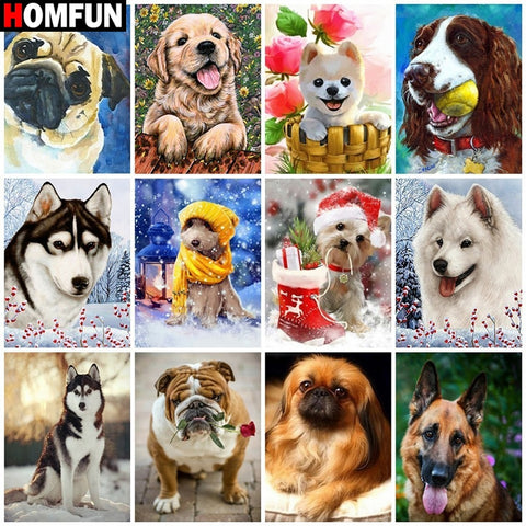 "Diamond Painting Full Square/Round Diamond ""Animal dog landscape"" Pattern Embroidery Cross Stitch 5D Rhinestone Painting"