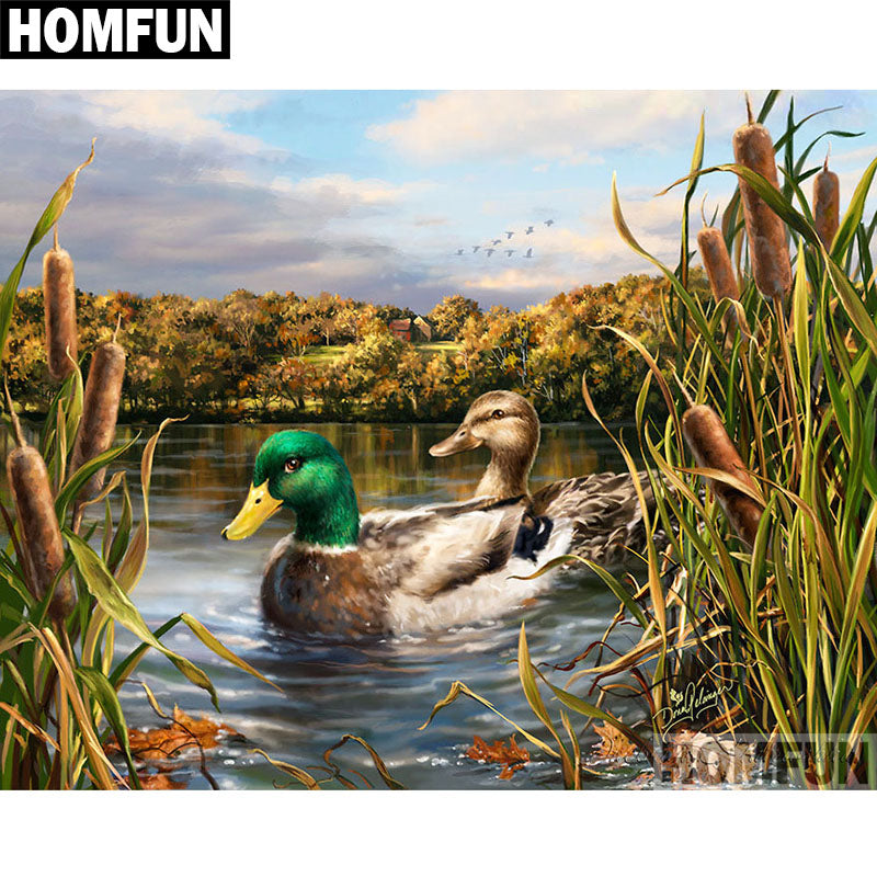 "Full Square/Round Drill 5D DIY Diamond Painting ""wild duck"" Embroidery Home Decor Gift A06381"