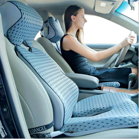 High Quality Car Cushion Set Memory Foam Car Lumbar Support Set Back Lumbar Neck Pillow Seat