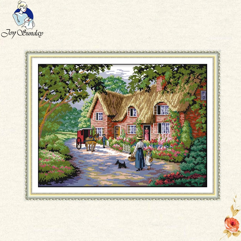 Joy sunday Country life landscape Cross Stitch kit Needlework set Canvas printed deep blue cotton thread embroidery DIY handmade