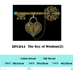 The Key of Wisdom cross stitch package sets aida 18ct 14ct 11ct black cloth people kit embroidery DIY handmade needlework