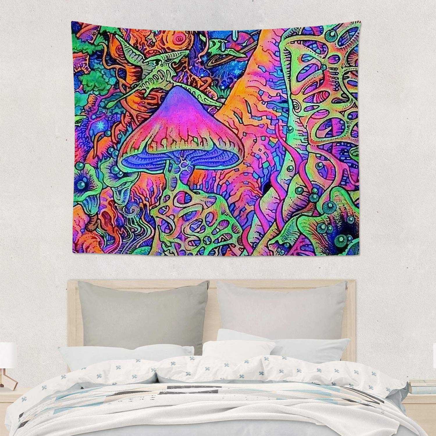 Psychedelic Trippy Mushroom Wall Hanging Tapestries Trippy Smoke Magic Mushrooms