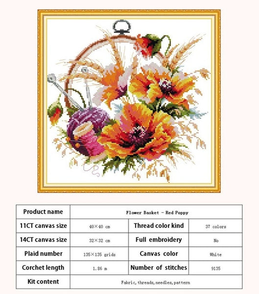 Flower Basket Fruit Disc counted Cross Stitch 11CT 14CT Cross Stitch Sets wholesale Cross-stitch Kits Embroidery Needlework