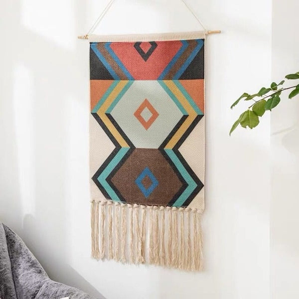 Handcrafts Nordic Tapestry INS Hand-woven Wall Tapestry Decoration Hanging Cloth Cotton Linen Ornaments Wall Hangers Boho Decor
