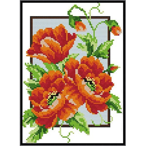 poppy flowers DIY Embroidery Cross Stitch Kit flowers family decorative patterns embroidery needlewor gift to Friend