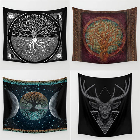 Dropshipping Wicca Tarot Tapestry Wall Hanging Polyester Home Decor Blanket Fabric Bedroom 180×230CM With 6M LED Light