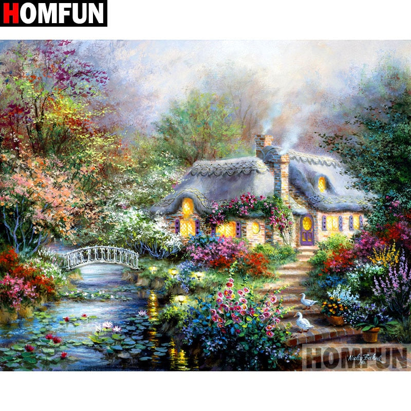 "Full Square/Round Drill 5D DIY Diamond Painting ""House landscape"" Embroidery Cross Stitch A11069"