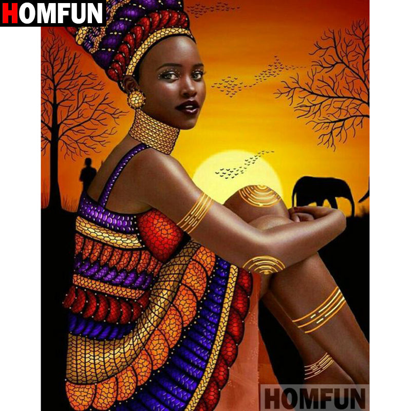 "Diy Diamond Painting Cross Stitch ""African beauty"" Diamond Embroidery Square Round Drill Crafts A15466"