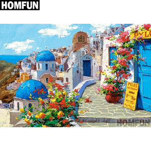 "Full Square/Round Drill 5D DIY Diamond Painting ""Seaside town"" Embroidery Cross Stitch Gift A04097"