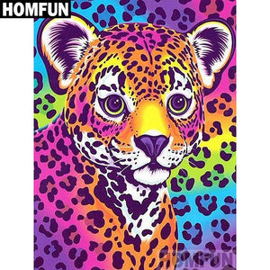 "Full Square/Round Drill 5D DIY Diamond Painting ""Colorful leopard"" Embroidery Cross Stitch 5D A02189"