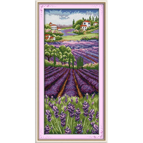 Patten Lavender Champaign 11CT 14CT Cross Stitch Kits For Sitting Room Decor Handmade DIY Embroidery Needlework Sets