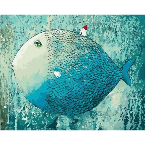 Sleeping fish DIY digital oil Painting By Numbers Kit On Canvas Paint By Numbers pre printed Unique Gift For Children adults