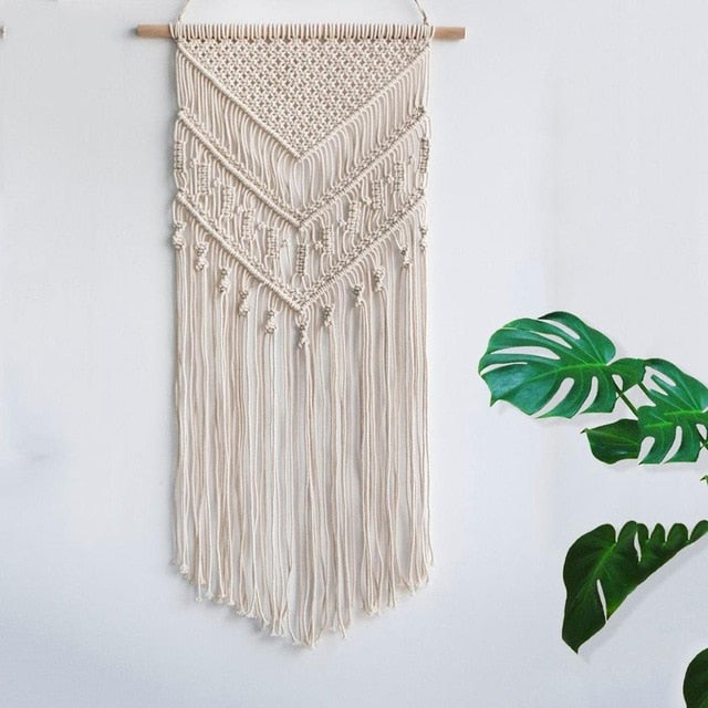 Macrame Woven Wall Hanging Boho Chic Bohemian Home Geometric Art Decor Beautiful Apartment Dorm Room Decoration