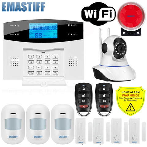 IOS Android APP Wired Wireless Home Security LCD PSTN WIFI GSM Alarm System Intercom Remote