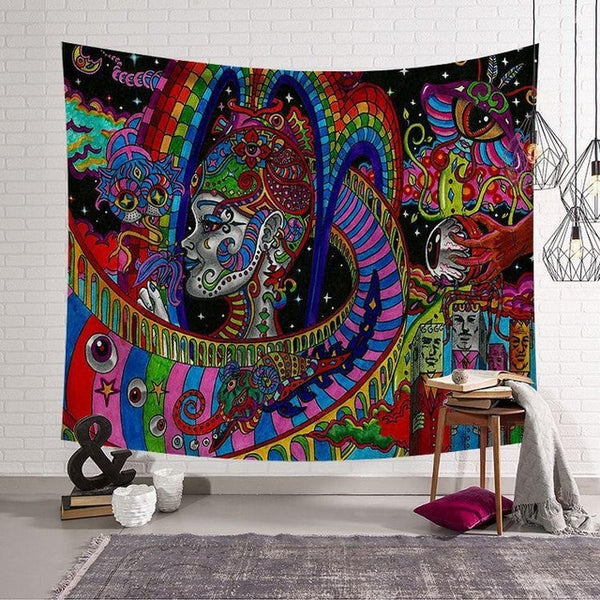Polyster Hippie Mandala Pattern Tapestry Abstract Painting Art Wall Hanging Gobelin Livingroom Decor Crafts