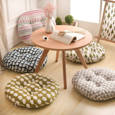 Round Shape 2 Size Seat Cushion Silk Cotton Core Cotton Polyester Tatami Cushion Pillow
