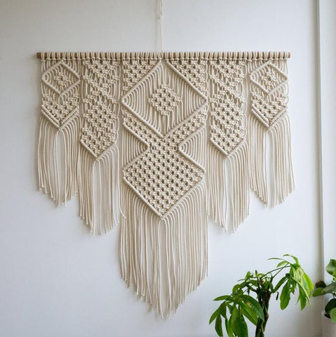 Macrame Woven Wall Hanging Handmade Cotton Bohemian Room Tapestry Art Beautiful Apartment Dorm Room Wedding Decoration 100x110cm