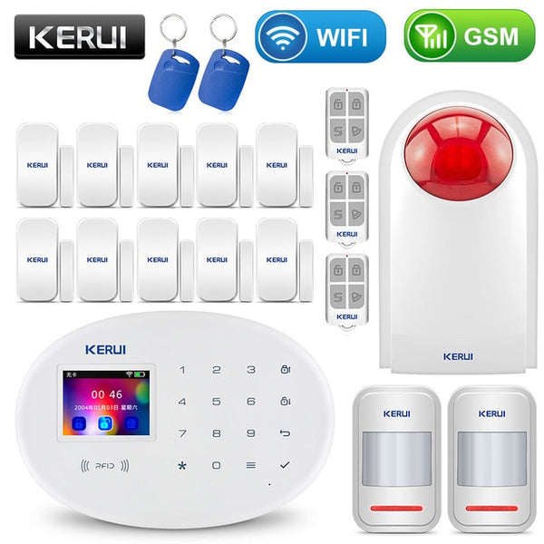 WIFI GSM Home Security Alarm System With 2.4 inch TFT Touch Panel APP Control RFID