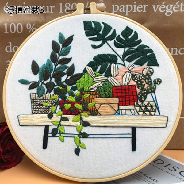 Plants Series 3D Embroidery Material Package DIY Embroidery Kit Cross Stitch Tool Primary Novice Bordados Hanging Painting Decor