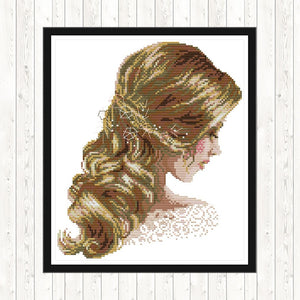 Cross Stitch Embroidery Kit Count DMC Thread Beautiful Hair Patterns 14CT DIY Printed Canvas Aida Fabric Cross-stitch Needlework